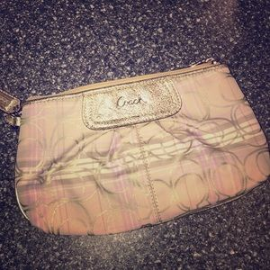 Coach wristlet in khaki gold ivory and lilac